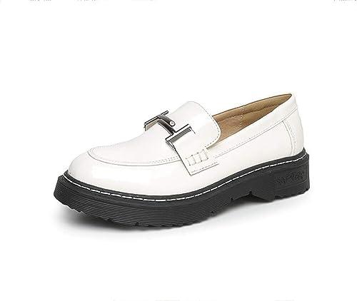 Mocasines de Las Mujeres Zapatos de tacón Plano Retro Estilo Universitario inglés: Amazon.es: Zapatos y complementos