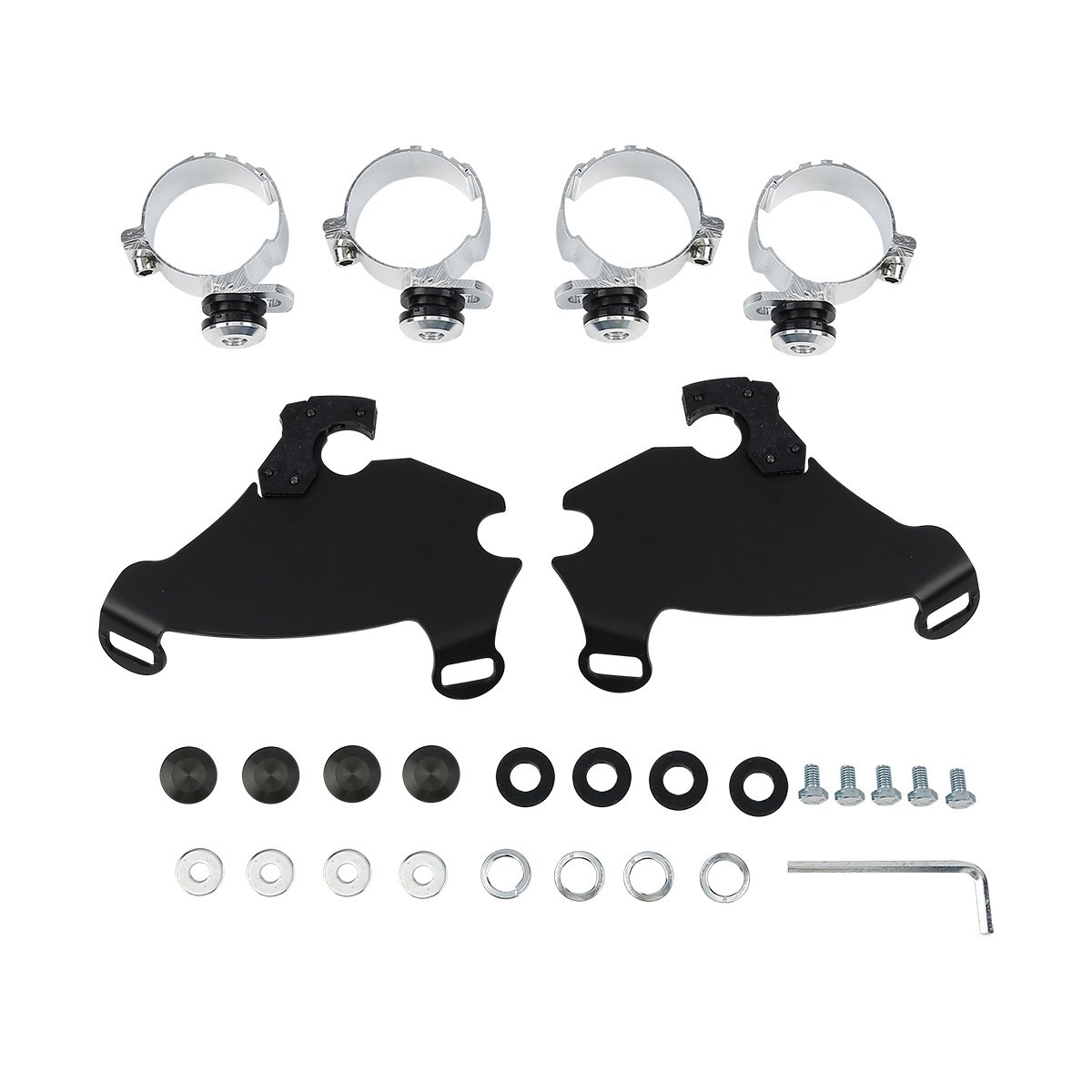 XMT-MOTO Black 49mm Gauntlet Fairing Trigger Lock Mount For Harley FXD Dyna Super Glide 2006-2010,FXDC Dyna Super Glide Custom 2006-2014,FXDL Dyna Low Rider 2014-2016,FXDL Dyna Low Rider 2014-2016,etc
