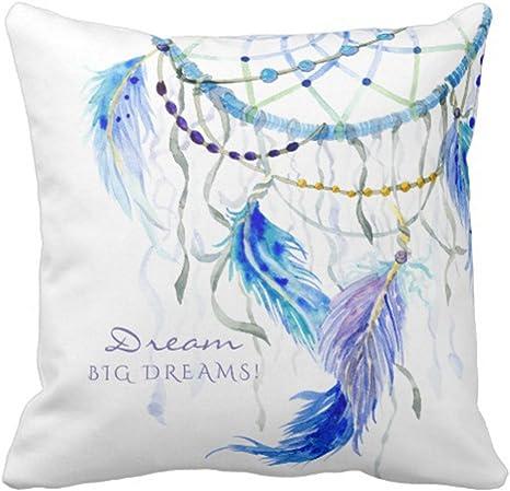 "Cushion COVER Blue White Home Decor Decorative Feather Soft Pillow Case 20x20/"""