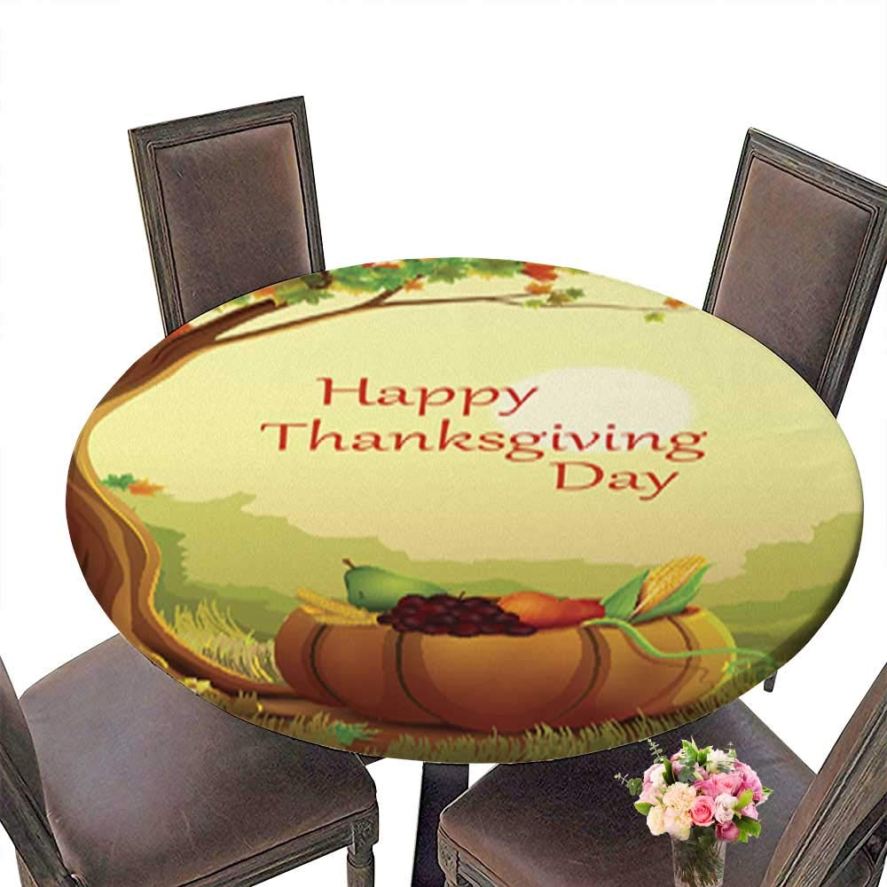 Indoor/Outdoor Spillproof Round Tablecloth,Happy Thanksgiving Wallpaper Background Wedding Restaurant Party Decoration up to 31.5''-33.5'' Diameter