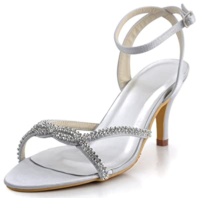 Amazon.com | Elegantpark Women Open Toe High Heel Rhinestones ...