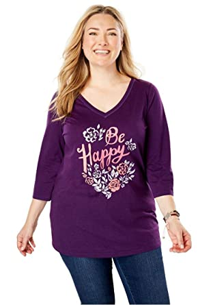 a765cae1cc8 Woman Within Plus Size Three-Quarter Sleeve Graphic Tee at Amazon ...