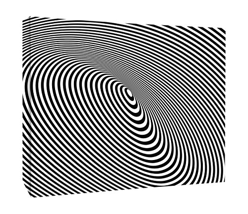 JP London CNV2439 Linear Optical Illusion Big Brother Black and White Canvas Art Wall Decor, 2' x ()