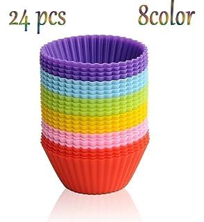 Caolator - Moldes de pastelería - 24 piezas - 8 colores - Silicona - Magdalenas