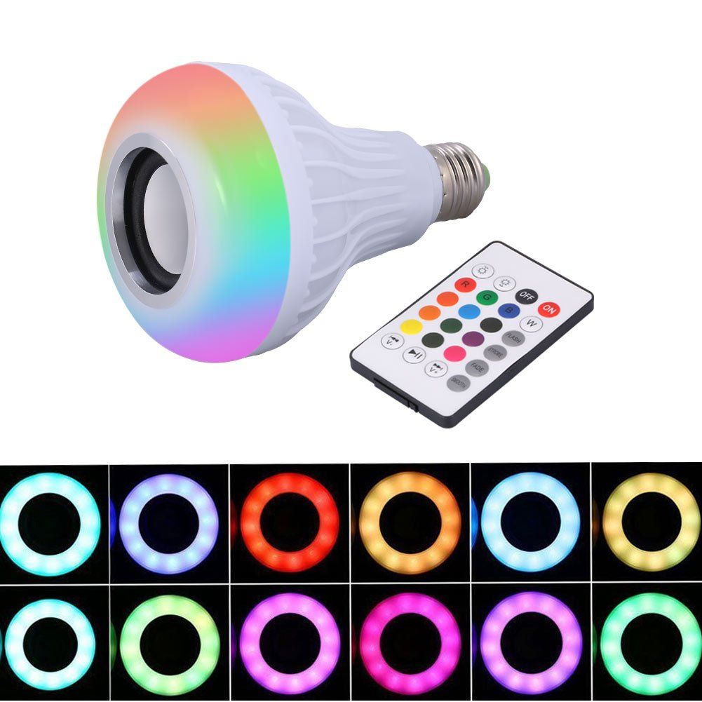 Music Light Bulb, LED Bluetooth Speaker Bulb E27 Wireless Remote Control Mini Smart LED Audio Speaker RGB Color Light Warm Bulb Music Lamp for Home, Party, Festival Decoration