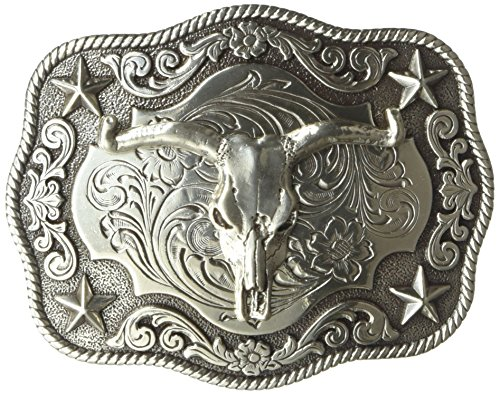 (Nocona Men's Scaloped Rectangle Steer Buckle, Silver, One Size)