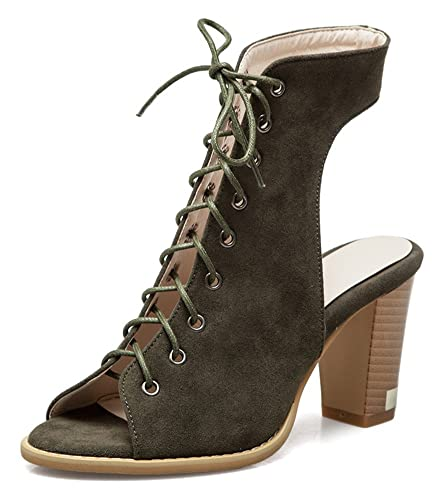 74c199666 Aisun Women's Peep Toe Sandals - Stylish Lace Up Stacked Shoes - Gladiator  High Heel Ankle