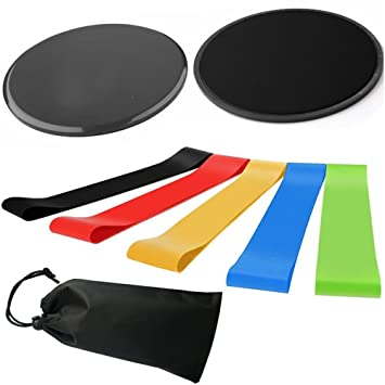 c334f8dac Resistance Bands Loop and Exercise Core Sliders Set Gliding Discs Double-sided  Sliding