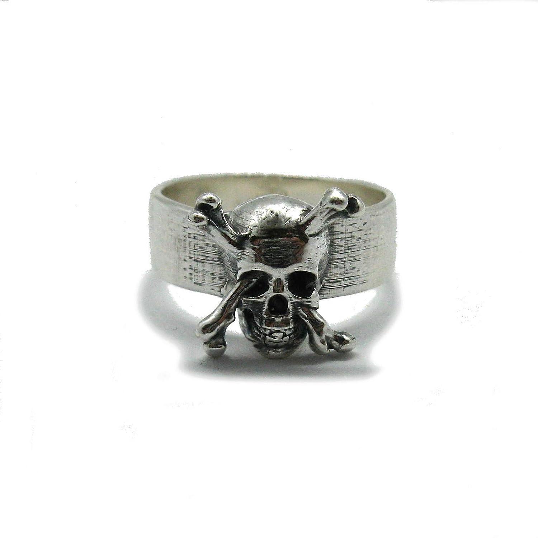 Anello da uomo in argento massiccio 925 Teschio con ossa incrociate R001862