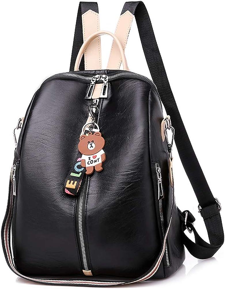 Women Backpack Purse Casual Drawstring Daypack Travel Bag Waterproof PU Leather Anti-theft Rucksack Lightweight Shoulder Bag