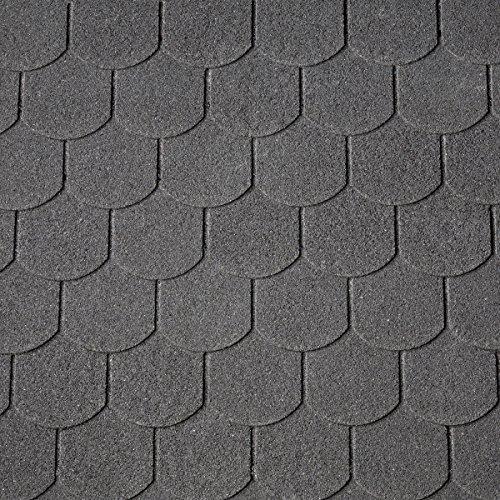 Bitumen-Dachschindeln Biberschwanz schwarz, 3 m² (13,33 €/m²), Dachbelag, Bitumenschindeln