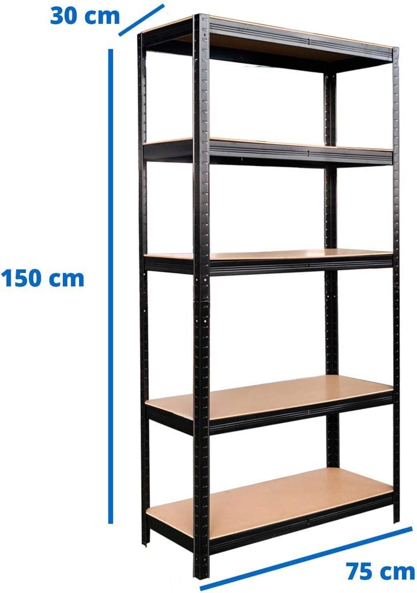Brigros Scaffale metallico 5 ripiani 2 capacit/à di carico ripiano 175 Kg 150x75x30 cm Blu alta portata fino a 875Kg