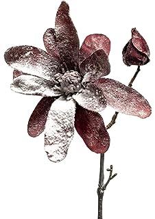 Magnolie gefrostet rot künstlich Kunstblume Dekoblume Tischdeko Weihnachten