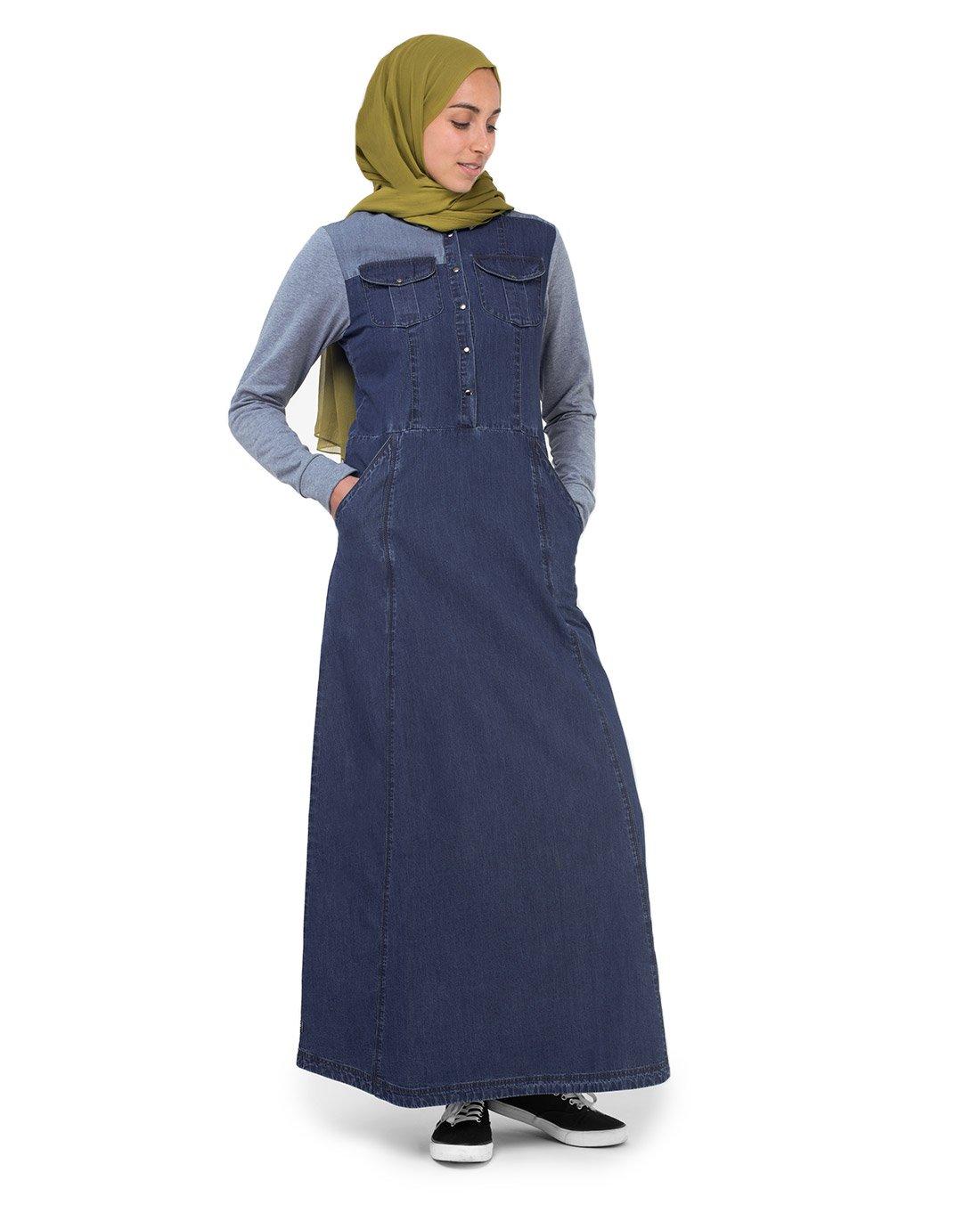 Silk Route Grey Contrast Fine Denim Maxi Dress Jilbab Large 60