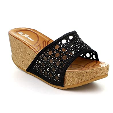 1b6f68a04 Forever Womens Cork Wedge Open Toe Rhinestone Embellished Sandals
