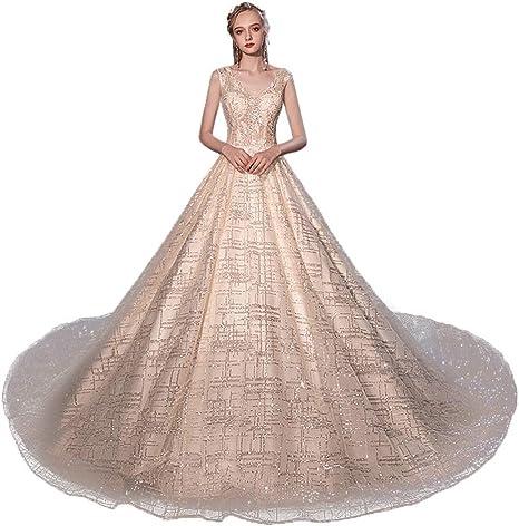 Guolinghui Vestido De Novia Elegante con Cuello En V Y