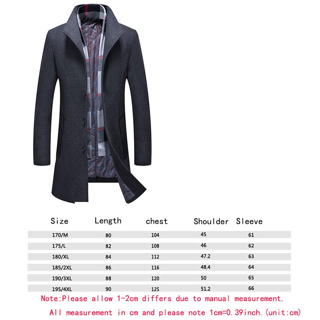 moonWANG Men's Wool Trench Coat Mens Lapel Coat with Removable Scarf Formal Overcoat for Men Grey