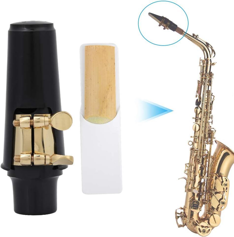 Bnineteenteam 4 in 1 Alto Sax Saxophone Mouthpiece Set,Saxophone Mouthpiece Cap Mute Silencer Reed Neck Strap