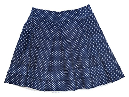 (Oober Swank Womens Banded Pin Dot A-Line Skirt Navy Size L)