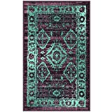 Maples Rugs Kitchen Rugs, [Made in USA][Georgina] 1'8 x 2'10 Non Slip Padded Small Area Rugs for Living Room, Bedroom, and Entryway - Wineberry/Teal