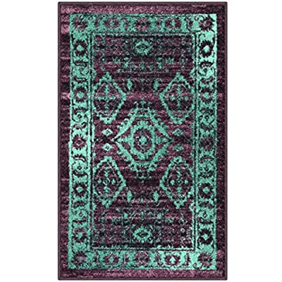 Maples Rugs Georgina Traditional Kitchen Non Skid Accent Area Rug [Made in USA], Winberry/Teal, 1'8 x 2'10 - 1'8 x 2'10 Accent Area Rug - Traditional Border style with rich, dual-colored design. An elegant and classic addition to different types of furniture and rooms. Timeless Design with 100% Nylon Pile for Added Durability and Fade Resistance 0.44 Inch Pile Height, Low Profile to be Placed in Any Setting. Easy Care and Machine Washable - living-room-soft-furnishings, living-room, area-rugs - 61jvD9d%2BMxL. SS400  -