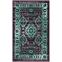 Maples Rugs Kitchen Rug - Georgina 18 x 210 Non Skid Small Accent Throw Rugs [Made in USA] for Entryway and Bedroom, Wineberry/Teal