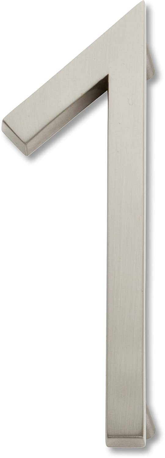 Atlas Homewares AVN1-BRN Modern Avalon House Number, One, Brushed Nickel