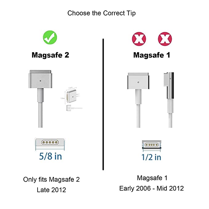 Mac Book Pro Charger, 60W Magsafe 2 Mac Book Air Charger Replacement- T-Tip AC Power for Mac Book Pro 13In-Late 2012