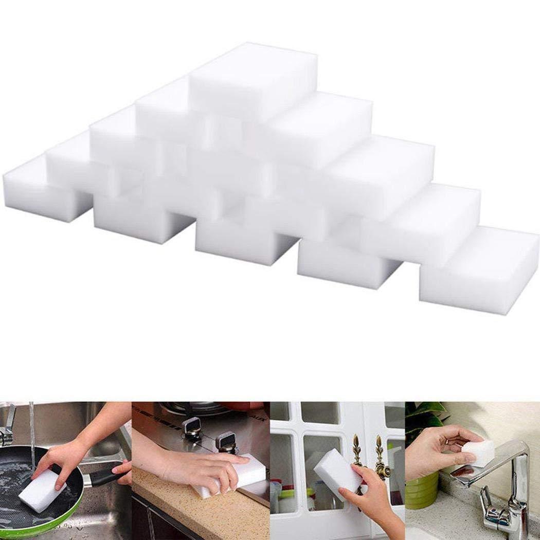 100-Pack Magic Cleaning Sponges Eraser, Household Sponge Cleaner Foam for Kitchen, Furniture, Car, Leather