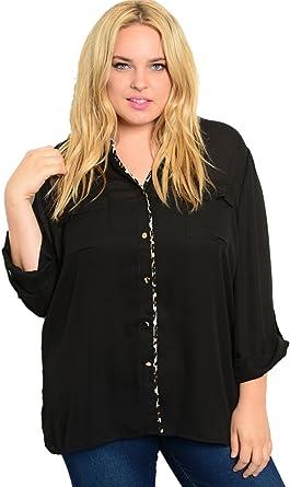 2LUV Plus - Camisas - para mujer negro Black1: Amazon.es: Ropa y accesorios