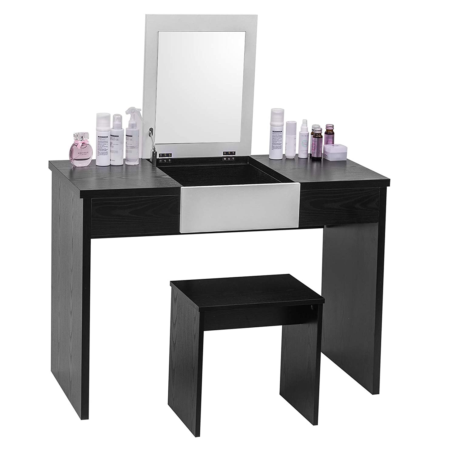 wholesale dealer 3412b b7812 WOLTU Dressing Table Black+White with a Foldable Mirror Makeup Vanity Table  Bedroom Dresser Set with Dressing Stool MB6048szw