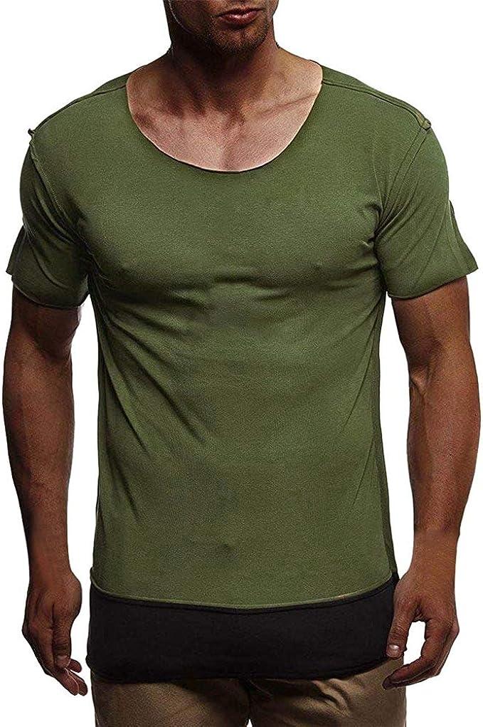 Camiseta Deporte Hombre, Lunule Camisetas Hombre Verano de Manga Corta con Cuello Redondo Camiseta Basica de Músculo Slim Fit Casual Tops Deportivos para Hombre: Amazon.es: Ropa y accesorios
