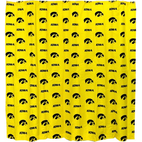 College Covers Iowa Hawkeyes Printed Shower Curtain Cover, 72 by 72