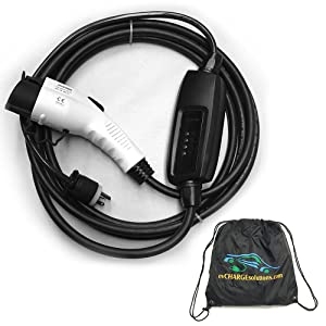 EV Charge Solutions Electric Vehicle Charging Station Level 2 NEMA 6-20 Plug to J1772 25' Charger Cord for EV Charging With Portable Carry Bag