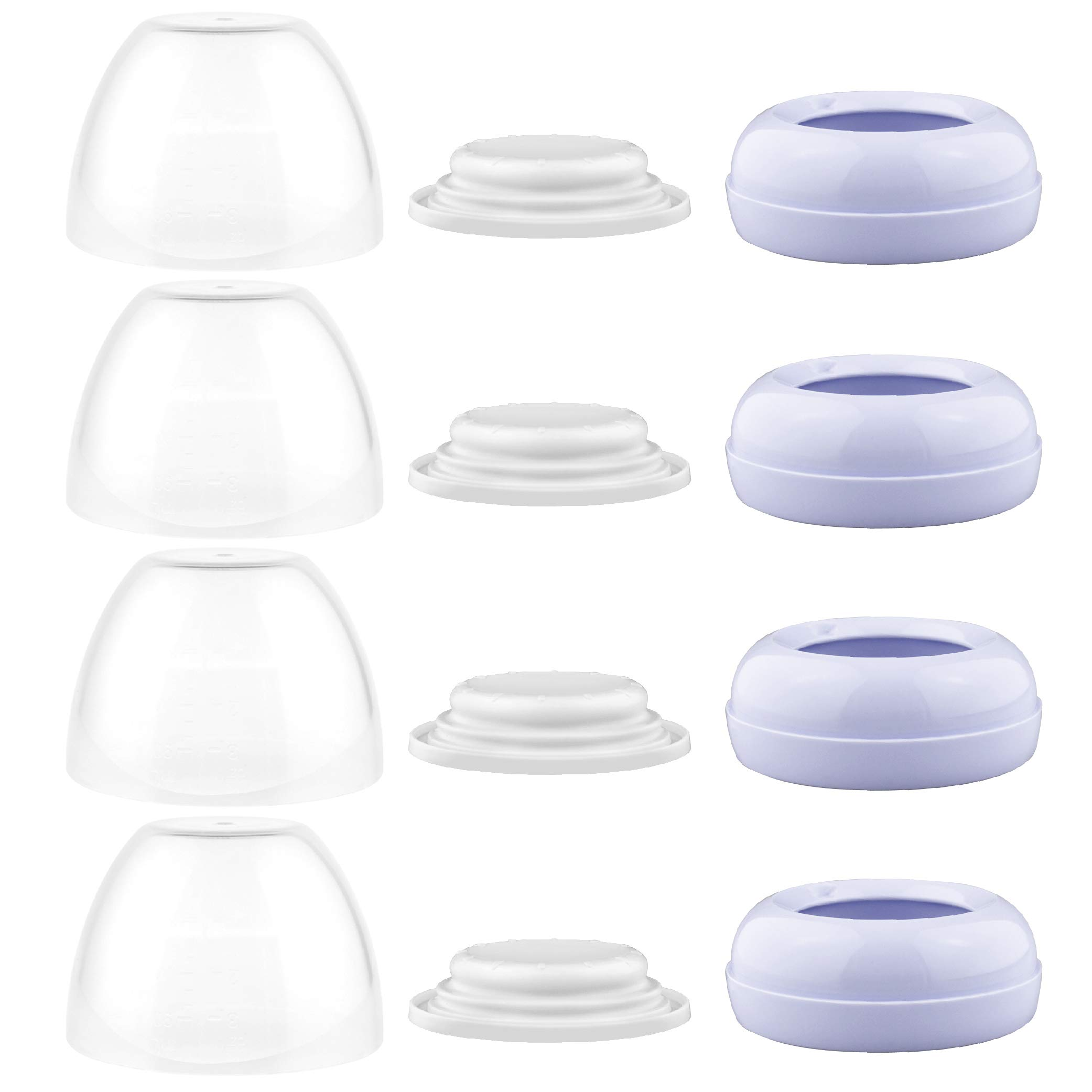 Maymom Dome Caps, Screw Rings, Sealing Discs Compatible with Philips Avent Natural Bottles, Avent PP Bottles or Natural; No Nipple Included. Convert Avent Classic Bottle Into Natural