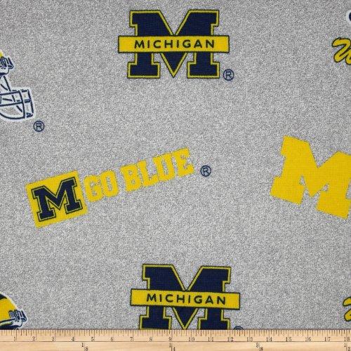Sykel Enterprises 0317702 Collegiate Sweatshirt Fleece University of Michigan Heather Fabric by The Yard, Grey