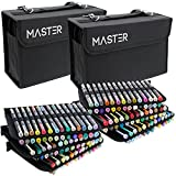 Mega Set of 160 Color Mastermarkers Permanent Professional Dual Tip Alcohol Double-Ended Art Markers with Chisel Point and Brush Tip - Soft Grip Barrels, Includes: Nylon Storage Case