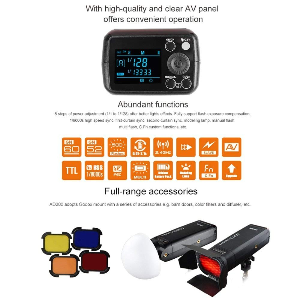 Godox AD200 TTL 2.4G HSS 1/8000s Pocket Flash Light Double Head 200Ws with 2900mAh Lithium Battery by Godox (Image #8)