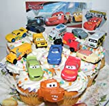 Disney Pixar Cars 3 Movie Deluxe Cake Toppers Cupcake Decorations Set of 14 with 12 Cars, a Sticker Sheet and ToyRing Featuring Lightning, Next-Gen Racers, Dr. Damage and More!