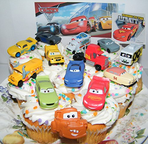 Disney Pixar Cars 3 Movie Deluxe Cake Toppers Cupcake Decorations Set of 14 with 12 Cars, a Sticker Sheet and ToyRing Featuring Lightning, Next-Gen Racers, Dr. Damage and More! ()
