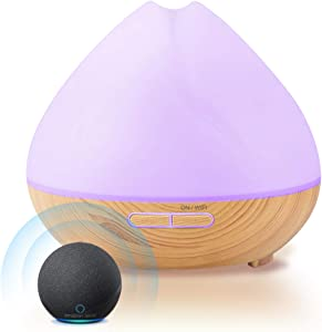 Essential Oil Diffuser - Smart WiFi 400ml Ultrasonic Fragrant Oils Diffuser & Humidifier Aromatherapy with Alexa & Google Home Phone App & Voice Control - Whisper-Quiet Operation & Automatic Shut-Off