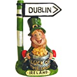 amazon com  miniature leprechaun with pot of gold  home   kitchenleprechaun with pot of gold and dublin road sign or ntal statue