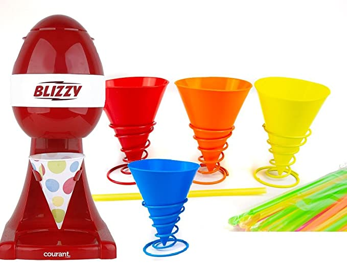 BLIZZY Snow Cone Maker Set With (4) Reusable Silicone Cups and Holders| Includes Ice Shaver, Paper AND Silicone Cups, and Straws