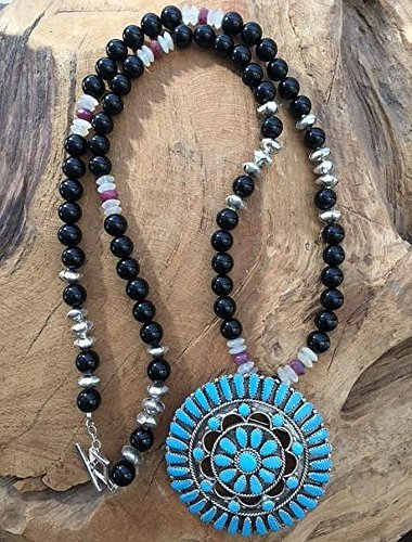Kingman Turquoise with Black Onyx Genuine Ruby Moonstone and Thai Karen Hill Tribe Silver Necklace