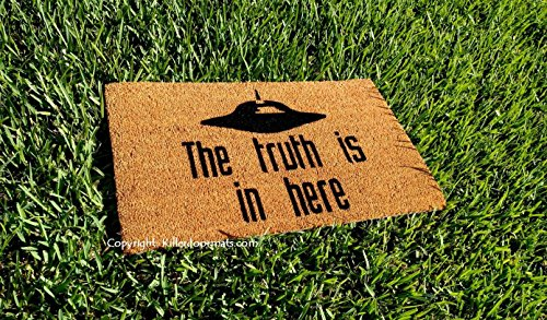 The Truth Is In Here UFO Coir Fandom Doormat, Size Large - Welcome Mat - Doormat - Custom Hand Painted Doormat by Killer Doormats