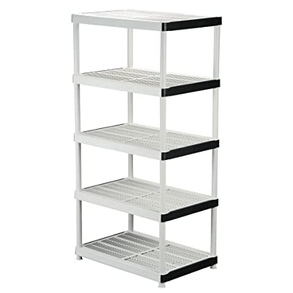 Peachy 5 Shelf Plastic Ventilated Storage Shelving Unit White 36 In W X 72 In H X 24 In D Interior Design Ideas Lukepblogthenellocom
