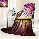 YOYI-HOME Duplex Printed Blanket Comfort Warmth SoftScenery with Mystical Northern Solar Lights and Star Clusters Neat Photo Purple Anti-Static,2 Ply Thick,Hypoallergenic/W59 x H39.5