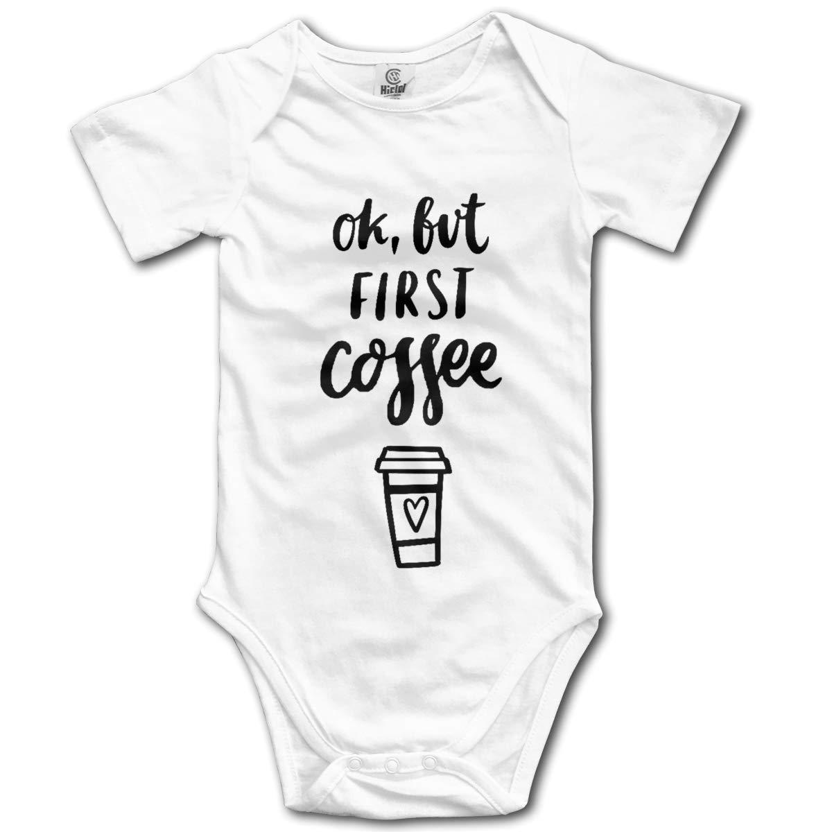 VANMASS Babys OK But First Coffee Short Sleeve Climbing Bodysuits Jumpsuit Romper