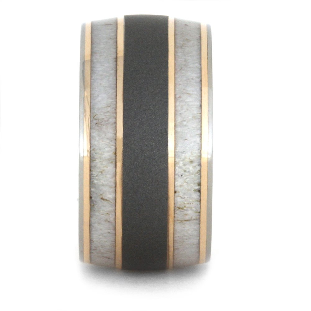 Deer Antler, 14k Rose Gold 9mm Comfort-Fit Sandblasted Titanium Wedding Band, Size 9.5 by The Men's Jewelry Store (Unisex Jewelry) (Image #2)