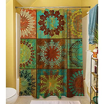 Amazon.com: 1 Piece Multi Medallion Theme Shower Curtain, Beautiful ...